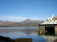 The ferry at the pier in Brodick
